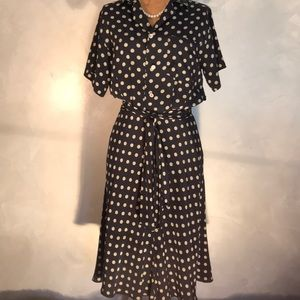 Vintage Classic Ralph Lauren Silk Polka Dot Dress